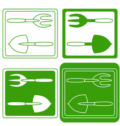 Set of gardening tools logo vector