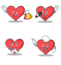 Set of heart character with shopping karaoke devil vector