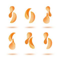 Set of potato chips on white background vector