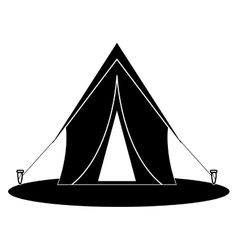 silhouette tent equipment camping activities vector image