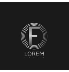 Silver f letter logo vector