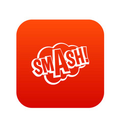 Smash comic book bubble text icon digital red vector