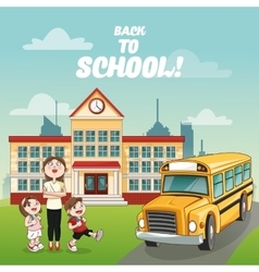 Teacher kids building bus back to school design vector