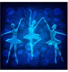 Tender ballet dancers on blue background vector