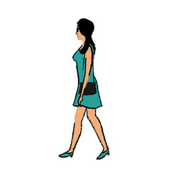 woman character walking people cartoon vector image