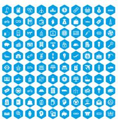 100 economy icons set blue vector