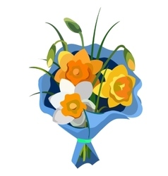 Gift bouquet of flowers in blue package vector