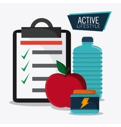 Water bottle apple protein healthy lifestyle vector