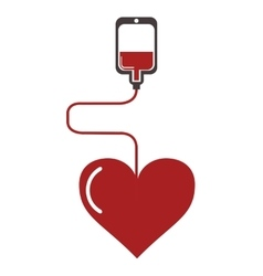Blood bag and cartoon heart icon vector