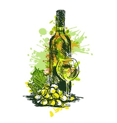 Colored hand drawing wine still life vector
