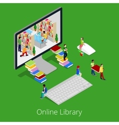 Isometric online library people reading books vector