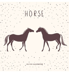 Two horses silhouette vector