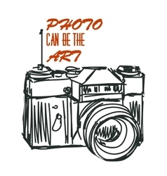 art photocamera with signature Isolated vector image