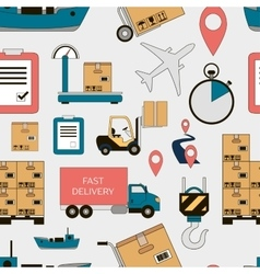 Shipping and delivery icons set pattern vector