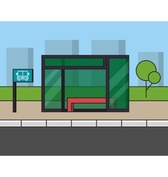 City bus stop outline line vector