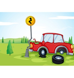 A car bumping the road sign vector image