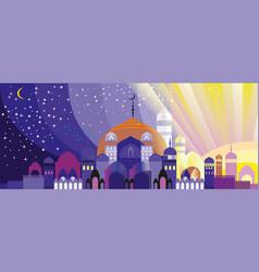 Panorama of arabian city vector