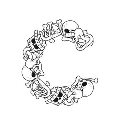 Letter c skeleton bones font anatomy of an vector