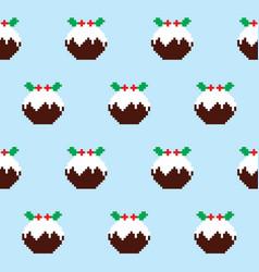 Christmas pudding seamless pattern vector