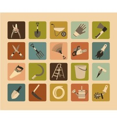 Garden tools flat icon set vector