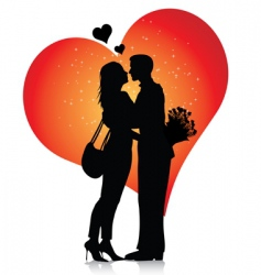 Couple silhouette with hearts vector