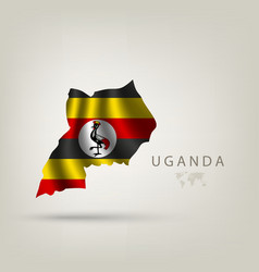 Flag of uganda as a country with a shadow vector
