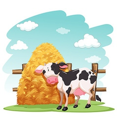 Cow and a pile of haystack vector