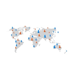 People man woman element on world map network vector