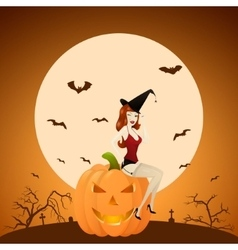 Beautiful red-haired pinup witch on pumpkin vector