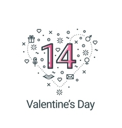 Valentines day flat line heart and 14 date vector