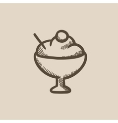 Cup of ice cream sketch icon vector