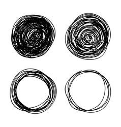 Hand-drawn scribble circles abstract doodle vector