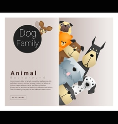 Cute animal family background with dogs 2 vector