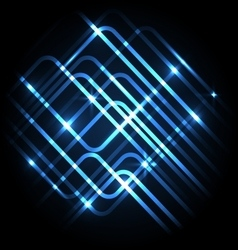 Abstract neon blue background with lines vector