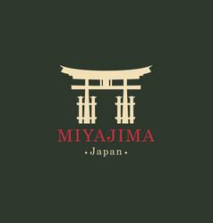 banner with ritual torii gate miyajima japan vector image