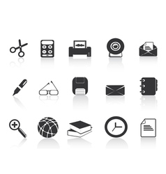 black simple office icons set vector image vector image