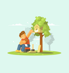 Boy feeding bird in birdhouse vector