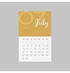 Calendar 2017 months july week starts sunday vector