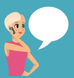 cartoon girl smartphone talk bubble speech vector image