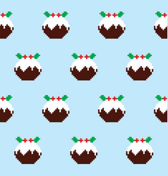christmas pudding seamless pattern vector image vector image