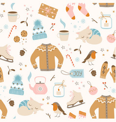 cozy christmas pattern vector image