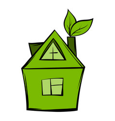 eco house icon cartoon vector image