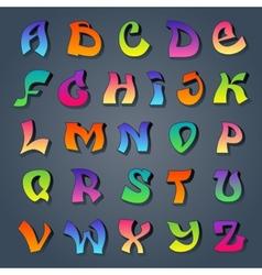Graffiti alphabet colored vector