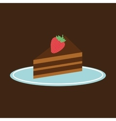 Hand holding a tray of piece of cake vector