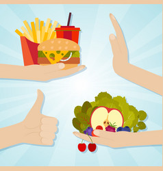 hands giving junk and healthy eating food choice vector image
