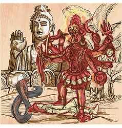 Kali god an hand drawn picture line art vector