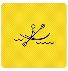 Kayaking on waves icon rafting or canoeing vector