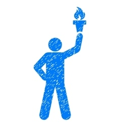 Leader with freedom torch grainy texture icon vector