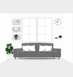 living room interior design with gray sofa vector image