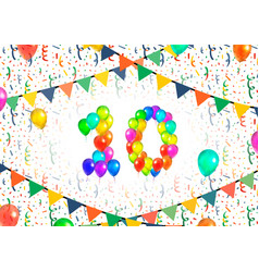 Number ten made up from colorful balloons on white vector